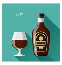 Bottle and glass of rum in flat design style vector