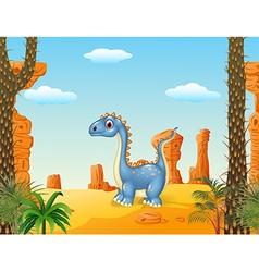 Cartoon cute dinosaur with prehistoric background vector image vector image