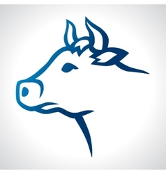 Cow head silhouette emblem design on white vector