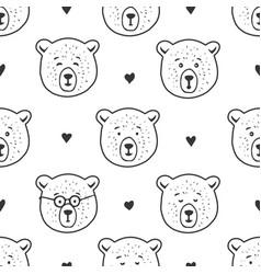 cute bear seamless pattern hand drawn vector image