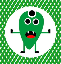 Cute Green Monster with Three Eyes vector image