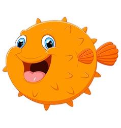 Cute puffer fish cartoon vector image