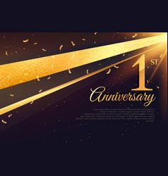 1st anniversary celebration card template vector image vector image