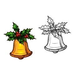 Christmas bell with holly isolated sketch icon vector image vector image