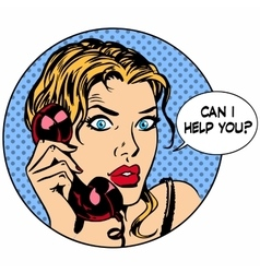 Communication phone woman said I can help you vector image