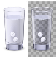 glass and pills on white for design vector image vector image
