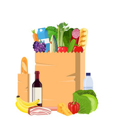 paper shopping bag full of groceries products vector image vector image