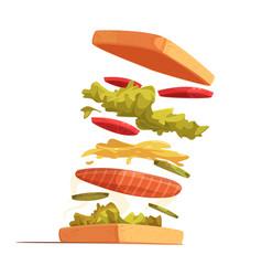 sandwich ingredients composition vector image