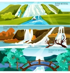 Waterfall Landscapes Banners vector image vector image