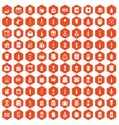 100 packaging icons hexagon orange vector