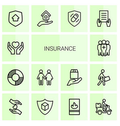 14 insurance icons vector image