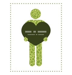 Abstract green natural texture man in love vector