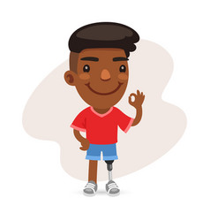 African american guy with a prosthetic leg vector