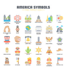 America symbols thin line and pixel perfect icons vector