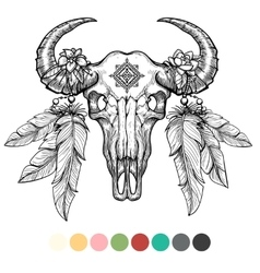 Animal skull coloring design vector
