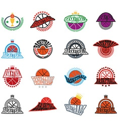 Basketball text badges variations vector