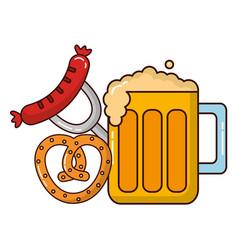 Beer jar beverage with pretzel and sausage vector