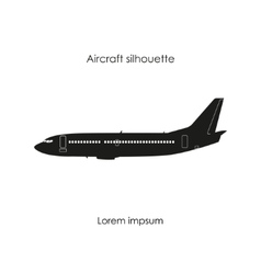 black silhouette a civil airplane vector image