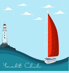 Blue sea with yacht and lighthouse vector