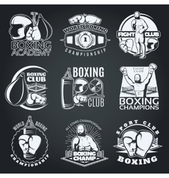 Boxing Clubs And Competitions Monochrome Emblems vector image