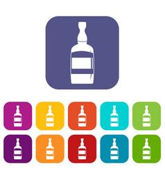 Brandy bottle icons set flat vector