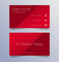 Business card template - sleek red design vector image