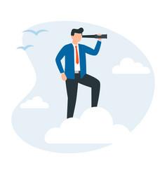 Businessman standing on cloud vector