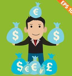 Cartoon Businessman with financial money vector image