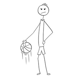 Cartoon of tall basketball player posing and vector