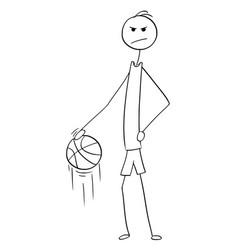 Cartoon tall basketball player posing and vector