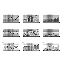 Charts in thin line style outline graphs vector