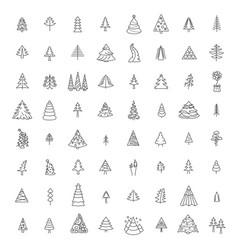 christmas tree icon set flat isolated design new vector image