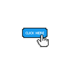 click here finger cursor button vector image