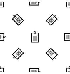Clipboard with checklist pattern seamless black vector