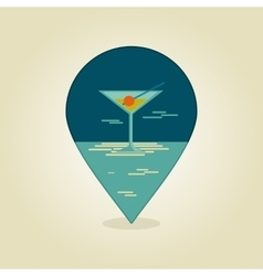 Cocktail pin map icon summer beach sun sea vector
