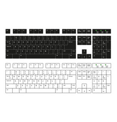 computer keyboard white and black on a white vector image