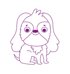 cute little dog mascot isolated icon white vector image