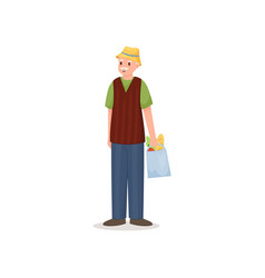 cute smiling pensioner man with yellow hat and vector image