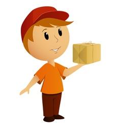 delivery boy box vector image vector image