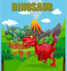 Dinosaur poster with two t-rex in field vector
