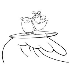 Dog surfing cartoon vector