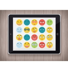 Emoticon set with realistic Tablet PC Emoticon vector
