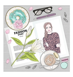 Fashion breakfast background with magazine vector