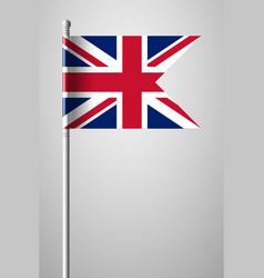 flag of united kingdom national flag on flagpole vector image