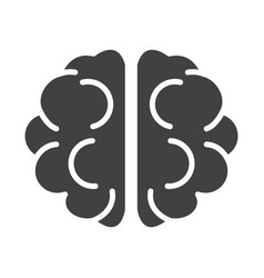 Flat black brain icon vector