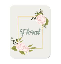 floral roses square frame grey background i vector image