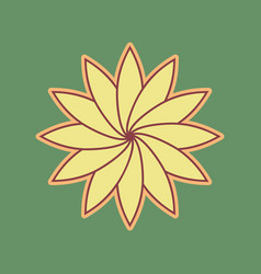 Flower sign cordovan icon and mellow vector