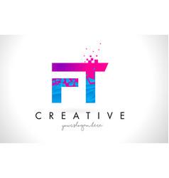 Ft f t letter logo with shattered broken blue vector