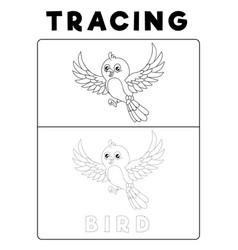 Funny bird tracing book with example preschool vector