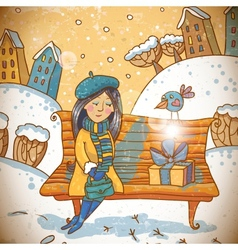 Girl with a gift on winter background vector image